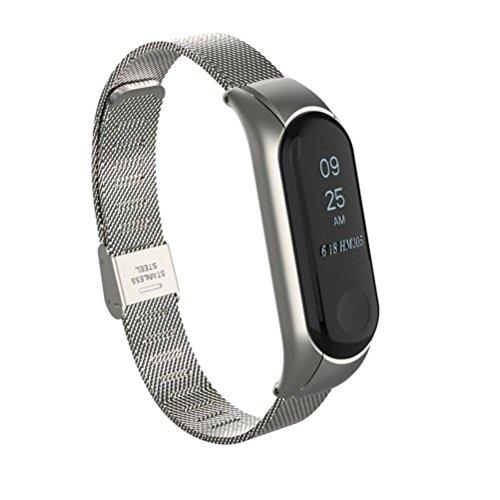 Uhrenarmbänder für Xiaomi Mi Band 3, VNEIRW Mailänder Edelstahl Ersatzarmbänder Smartwatch Zubehör A VNEIRW_Elektronik (25,50 x 2,10 x 1,50 cm, Silber)