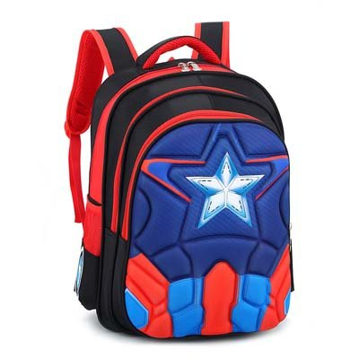 Magic Union Boys Spine Protection Backpack Alleviate Burdens Children Shoulder Backpack Elementary School 1-6 Grade School Bags – Blue And Red