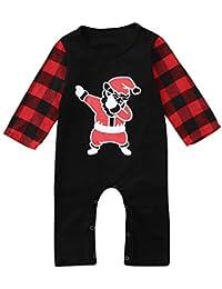 ODJOY-FAN-Neonato Bambino Manica Lunga Natale Stampa di Babbo Reticolo Ha  Yi Abito Onesies- Baby Christmas Dress Up Regalo Cappotti Outwear… 0caa38292cc