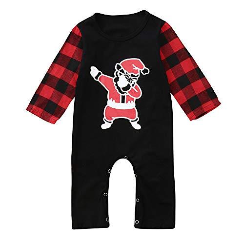 OverDose Damen Kleinkind Kinder Baby Mädchen Infant Langarm Cartoon Print Tops + Hosen Weihnachtsfeier Geschenk Schnee Warme Outfits Anzug(Schwarz,80)