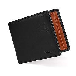 Vemingo Herren Geldbeutel Geldbörse mit Münzfach und Sichtfenster | RFID Blocker Kreditkartenhalter Karten Portemonnaie Brieftasche Portmonee für Männer XB-024 Dunkelbraun