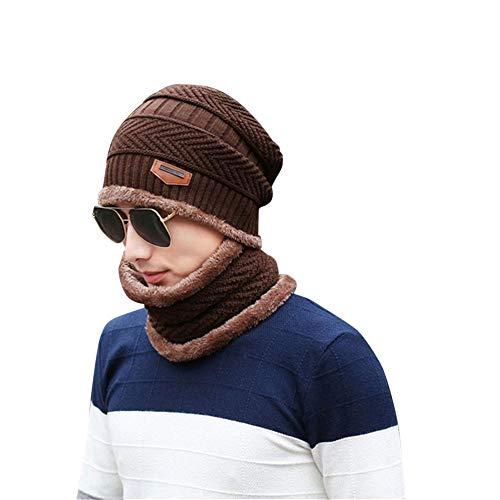 echo4745 Beanie Mützen Men Winter Warm Fleece Mütze Camping Hat Warm gestrickt Dick Strickmütze Lose Skimaske Skimütze + Scarf