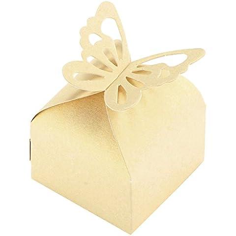 niceeshop(TM) Cajas de Regalo de Plegable Paquete del Caramelo de la Mariposa para Favor de la Boda, Blanco Oro