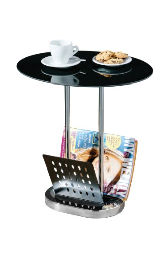 Premier Housewares Oval Coffee Table with Magazines Holder- Chrome/Black
