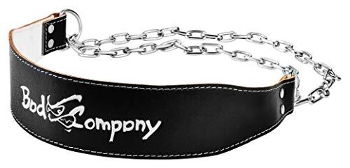 Bad Company Dip Gürtel aus Leder I Gewichtsgürtel mit Stahlkette und Karabinerhaken für das Oberkörpertraining I Gewichtsbelastung bis zu 100 kg I Schwarz -