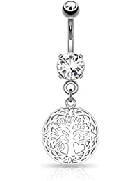 Kultpiercing–Piercing nombril Piercing Nombril Bar Bell Tree Of Life–Argent