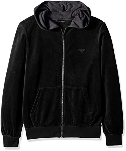 Chenille-pullover-jacke (Emporio Armani Herren Men's Chenille Zip Up Sweater Kapuzenpulli, schwarz, Groß)