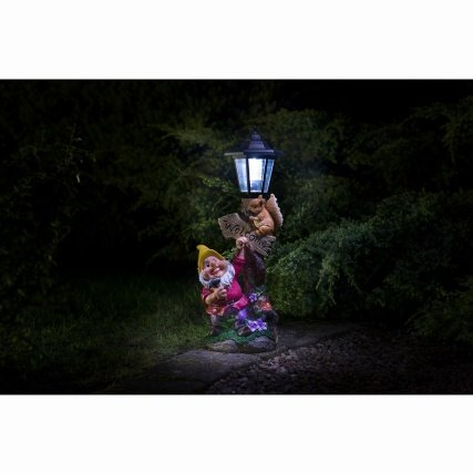 Outdoor-Garden-Gnome-with-Solar-Lamp-Post-Decorative-Piece-Yellow