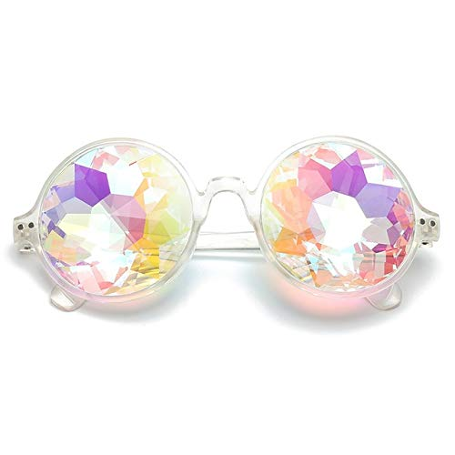 JIAWEIDAMAI Runde Glas Facetten Prisma Brille Frauen Diamant Psychedelic Mosaic M?nner Lustige Rave Festival Party Prom Sonnenbrille