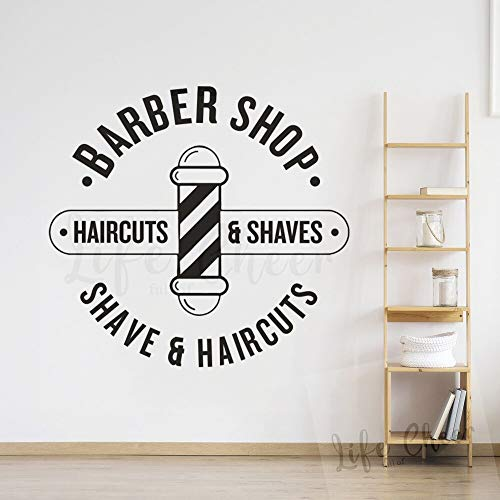 BailongXiao Friseur Logo Wand Fenster Vinyl Aufkleber Haarschnitt Und Rasur Wandaufkleber Friseursalon Dekoration Vinyl Poster 75x70 cm