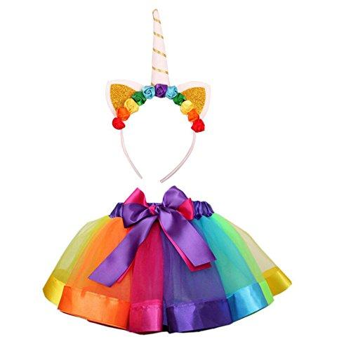 (fiouni Mädchen überlagert Regenbogen Tutu Rock Tanzkleid Ballett Rock mit Einhorn Stirnband L)
