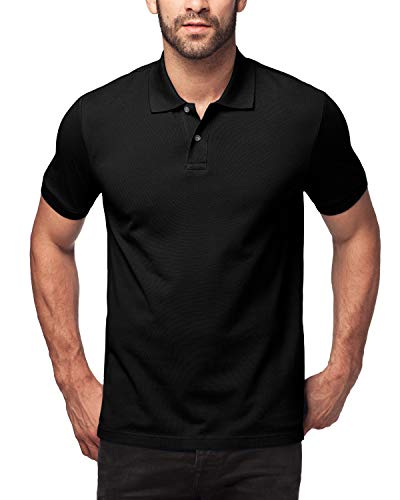 Schwarzes Pique Polo Shirt (LAPASA Herren Poloshirt, Polo T-Shirt - M019, M, Schwarz)