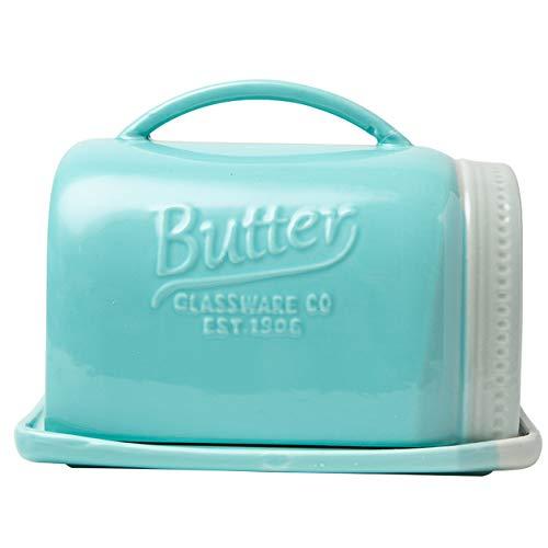 Mason Jar Keramik-Butterdose mit Deckel - Vintage Keramik Butterhalter - dekorative Butterdose mit rustikalem Bauernhaus-Design - Praktisches Buttertopf in Aquablau Vintage Keramik
