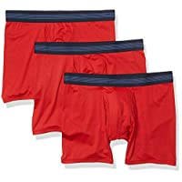 Amazon Brand - Goodthreads Men's 3-Pack Lightweight Performance Knit Boxer Brief, Red, X-Large