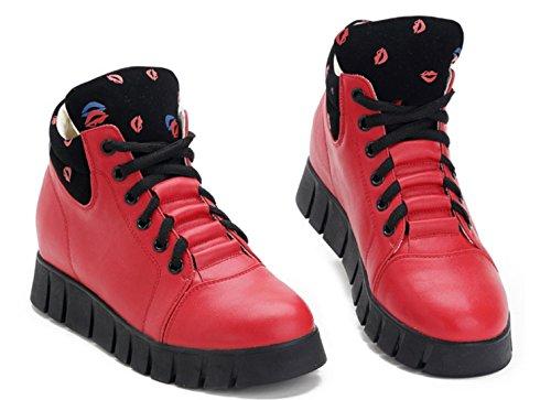DADAWEN Femme Automne Bisou Printed Sportif Sneaker Rouge