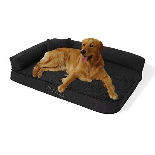 brunolie Pallina Hundesofa waschbar, orthopädisch und rutschfest, Hundekissen mit kuscheligem Plüsch, Größe L, dunkelgrau