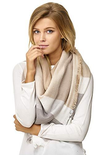 JillyMode XXL Damen Schal Winter Dick Warm und weich viele schöne Mustern (1001-37-Khaki/Beige)