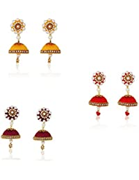 96984ac13 Brahmgeet Art Handicraft Silk Thread Earrings for Women Stylish- Pack of 3