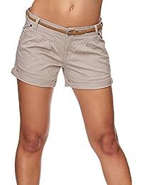 SUBLEVEL Damen D6055Z60917EK-BS Chino Shorts mit Gürtel