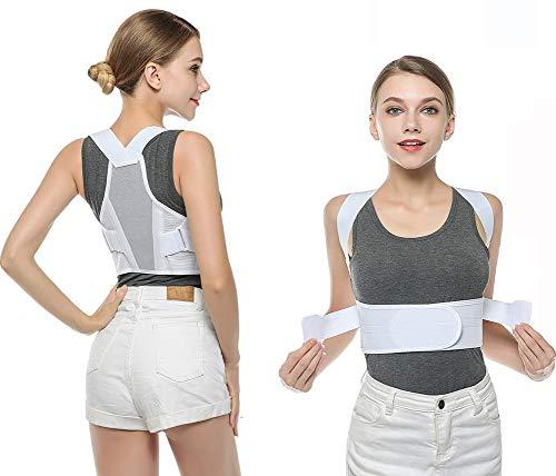 GHzzY Korrektur der Rückenhaltung - Einstellbare Unterstützung der oberen Rückenhaltung zur Verbesserung der Korrektur von Fehlhaltungen und Schlupf,White,XL -