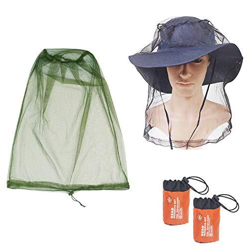KATOOM 2Pcs Moskito Kopfnetz Outdoor Angeln Hut Kopf Moskitonetz Gesichtsschutz Grün und Schwatz Insektenschutz für Campen Laufen Klettern Radfahren Imkerei -