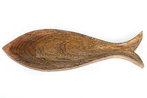 Fish Shaped Wooden Decorative Snack Serving Tray Or Party Platter Dinnerware Kitchen Accessories Coin Key Trinket Dish ( 40cm x 13cm