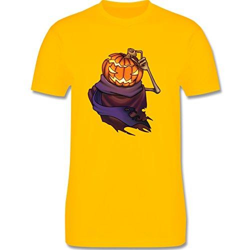 Halloween - Kürbiskopf - Herren Premium T-Shirt Gelb