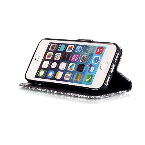 3D Glitzer Leder Wallet Case Cover für iPhone 5S, Aeeque iPhone 5/5S/SE Sehr Dünn Flip Trennbar Tragegurt [Standfunktion Kartenfächer Weich Innen Bumper] Bling Diamant Blau Gold Schmetterling Muster S Schwarz Schädel