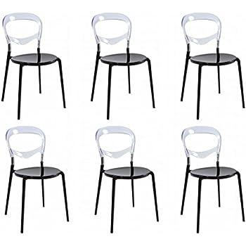 Set 6 sedie design con base in alluminio nero e schienale for Sedie design outlet