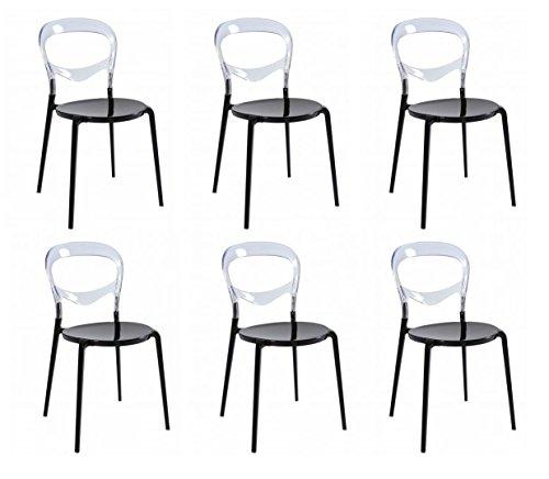Set 6 SEDIE Design con base in alluminio nero e schienale in policarbonato trasparente - DESIGN OUTLET
