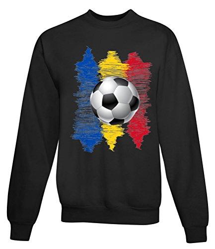 Billion Group | Romania | Football Illustration | Sport Series | Women's Unisex Sweatshirt Noir