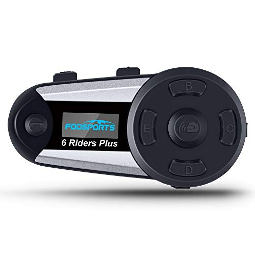 Fodsports interfono moto bluetooth motorcycle intercom con FM, 1200M comunicazione Bluetooth per moto, cancellazione del rumore casco interfono bluetooth Connetti fino a 6 riders, GPS, MP3