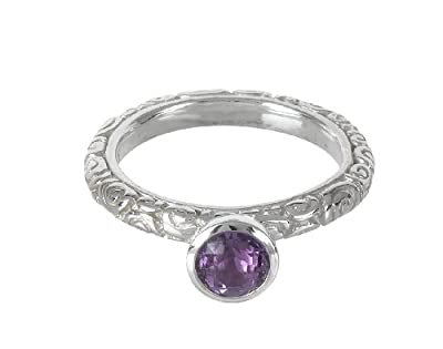 Dower & Hall, Spiral - Solid Sterling Silver 6mm Cup Set Amethyst Carved Ring