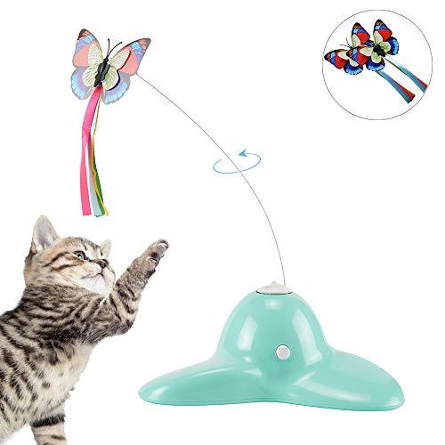 Xiruisz Elektrische Katze Spielzeug,Interaktives, drehendem Schmetterling Teaser Spielzeug,mit Zwei ersatz blinkende Schmetterlinge Spielzeug für Katzen (Grün)