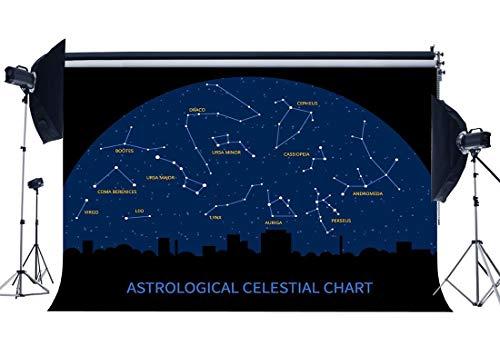JoneAJ Galaxy Constellation Hintergrund 7X5FT Vinyl Astrologische Himmelskarte Kulissen Funkeln Sternennacht Stadt Silhouette Fotografie Hintergrund für Schüler Schulparty Fotostudio Prop (Fotografie Kulissen Der Stadt)