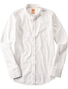 BOSS Orange Herren Hemd EdipoE Baumwolle Oberhemd Unifarben, Größe: XL, Farbe: Weiß