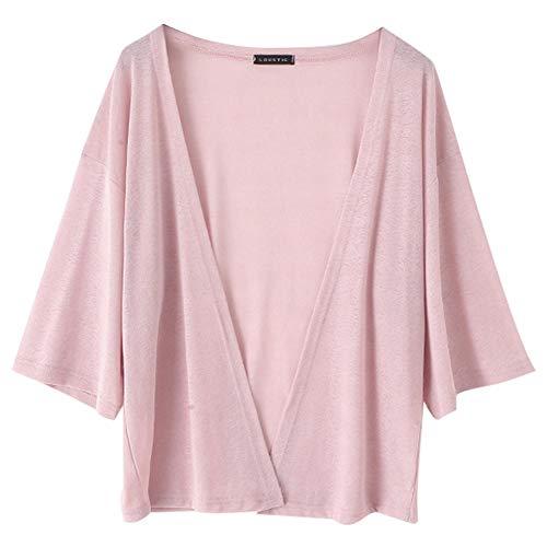 Rosvola Frauen-Normallack-Wolljacke, Sommer-Sonnenschutz-ultradünne Hülse mit DREI Vierteln Outwear(L-Rosa) - Schiere Kimono Top