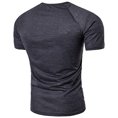 ZhiYuanAN Herren Einfaches T-Shirt Mit Knopf Dekoration Normallack Wild Rundhals Tee Lässig Und Bequem Schlanke Passform Shirt Tops Dunkelgrau