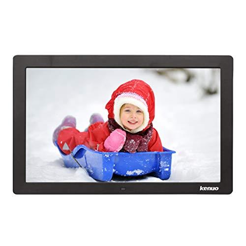 Digitaler Bilderrahmen, Elektronischer Fotorahmen 15.4 Zoll Full HD 1080P Display mit Kalender/Alarm/Foto/Musik/Video Player/Auto on/Off Timer mit Fernbedienung, Schwarz