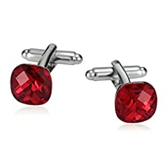 Idea Regalo - Aooaz Gioielli gemelli acciaio uomo Abito da camicia rosso con strass in cristallo quadrato 1X1CM gemelli camicia uomo matrimonio Rosso