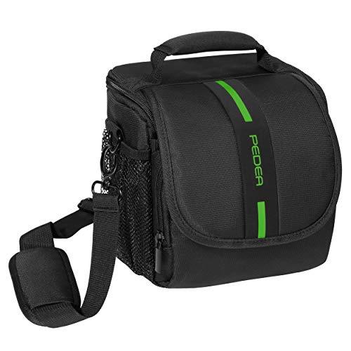 """PEDEA DSLR-Kameratasche """"Essex"""" Fototasche für Spiegelreflexkameras mit wasserdichtem Regenschutz, Tragegurt und Zubehörfächern, Gr. M schwarz/grün"""
