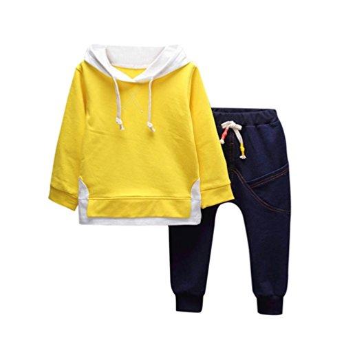 2pcs tops + pantaloni, feixiang toddler baby bambino ragazzo ragazza abiti con cappuccio stampa t-shirt top + pantaloni vestiti set,miscela del cotone (3 anni, giallo)