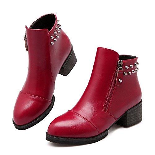 AgooLar Damen Blend-Materialien Reißverschluss Ziehen auf Mittler Absatz Stiefel, Weinrot, 37