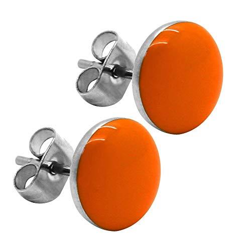 tumundo 2 Ohrstecker Ohrringe Rund Ohr-Schmuck 10 mm Fake-Plugs Piercing Set Silbern Damen Herren Cheater Edelstahl, Farbe:orange