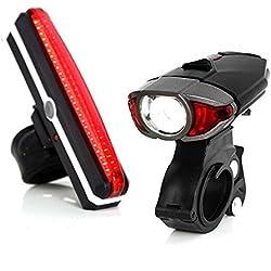 Unigear Luces LED Bicicleta USB Recargable Luz Trasera 6 Modo+ Luz Delantera 3 Modo Impermeable Faro Delantero y Trasero 2 Cable Para Carreteras Montaña Ciclismo Seguridad