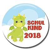 Polarkind Button Pin Anstecker Schulkinder Geschenk zum Schulanfang 38mm Handmade (Motiv: Drache)