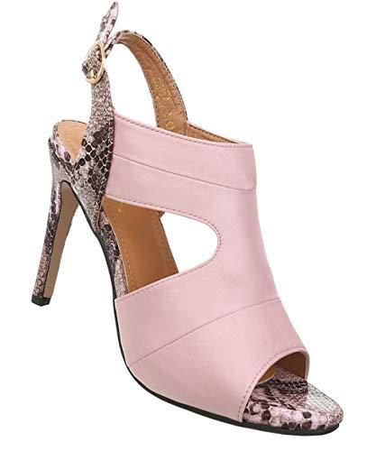 Damen Schuhe Sandaletten | High Heels Stiletto | Pumps Abendschuhe | Slingpumps | Riemchenpumps Partypumps | Elegante Damenschuhe | Peep Toes Slingbacks | Rosa 41