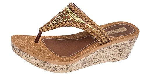 Grendha Silvestre Wedge Sandales / flip flops femmes - Bleu Bronze