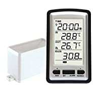 Rain Gauge Climatology Instrument Household, Digital Plastic Portable Wireless Temperature Sensor Measuring Tool