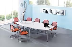 POV® HAMMERBACHER Konferenztisch weiß Tonnenform